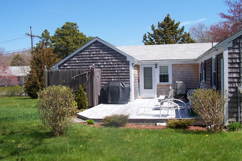 Back Deck Cape Cod Summer Rental at 185 Trotting Park Road in West Dennis, MA 02670