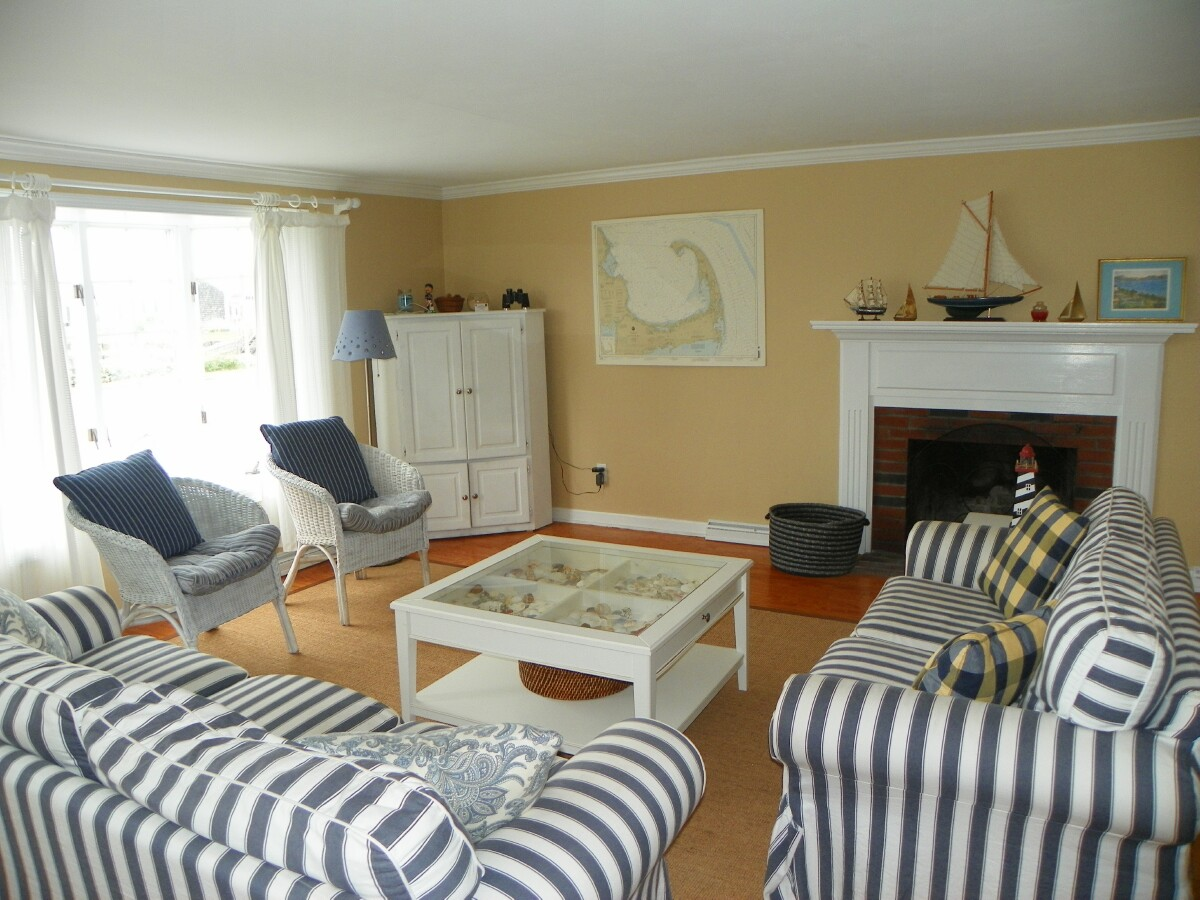 Living Room View of private dock of 54 Surfside Road, West Dennis, MA 02670