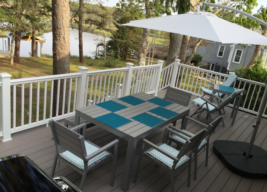 Deck overlooking Swan Pond River at 5 Barnacle Way, So. Dennis, MA 02660