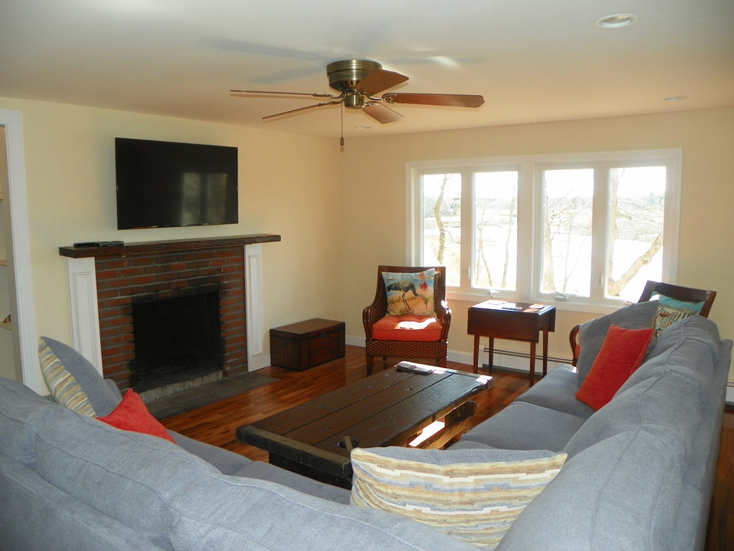 Fireplaced living room at 5 Barnacle Way, So. Dennis, MA 02660