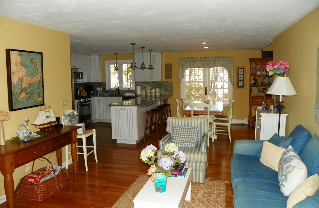 Kitchen/dining area/family room at 66 Kelleys Pond Road, West Dennis, MA 02670