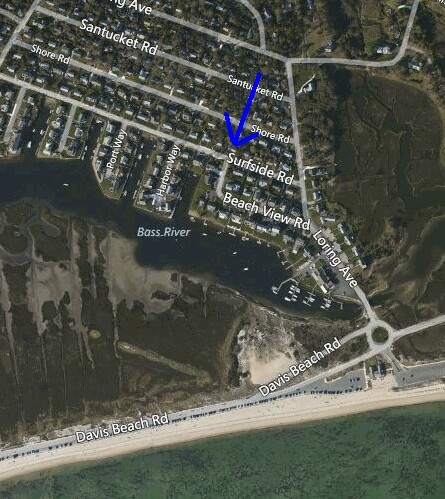 Aerial View of 74 Surfside Road, West Dennis, MA for sale by Cranberry Real Estate 508-394-1700